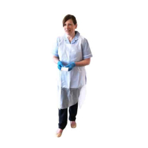 WHITE BIODEGRADEABLE APRON 27inch X 46inch, UNISEX DISPOSABLE