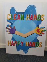 CLEAN HANDS HAPPY HANDS WALL SIGN FOR DISPENSER