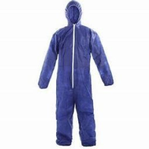 XL POLYPROPYLENE COVERALL BLUE WITH HOOD