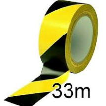 YELLOW AND BLACK HAZARD TAPE 50MM X 33M PER ROLL